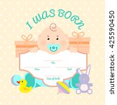 baby colored illustration card... | Shutterstock .eps vector #425590450