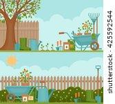 Stock vector concept of gardening garden tools banner with summer garden landscape flat style vector 425592544