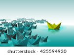 different color paper boat... | Shutterstock . vector #425594920
