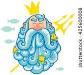 illustration of sea god neptune. | Shutterstock .eps vector #425600008