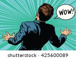 wow reaction man fear retro... | Shutterstock .eps vector #425600089