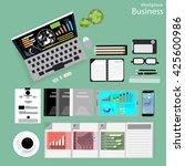 vector workplace businessman... | Shutterstock .eps vector #425600986
