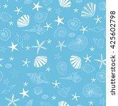 seashells and starfish seamless ... | Shutterstock .eps vector #425602798