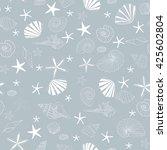 seashells and starfish seamless ... | Shutterstock .eps vector #425602804