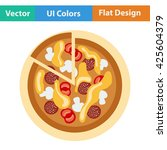 pizza on plate icon. vector...