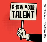 poster in hand  business...   Shutterstock .eps vector #425606356