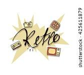 retro poster design.  camera... | Shutterstock .eps vector #425611879