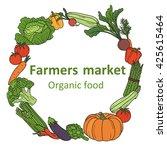 farmers market hand drawn... | Shutterstock .eps vector #425615464