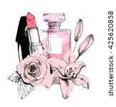 perfume with lipstick on white... | Shutterstock . vector #425620858