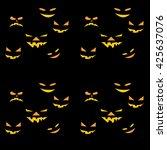 halloween pattern with smiley... | Shutterstock .eps vector #425637076