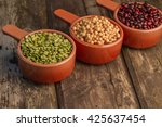 yellow peas  green peas and... | Shutterstock . vector #425637454