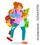 stressed woman carrying a... | Shutterstock .eps vector #425642950