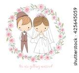 wedding ceremony   bride and... | Shutterstock .eps vector #425645059