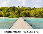 jetty to a little tropical... | Shutterstock . vector #425651173