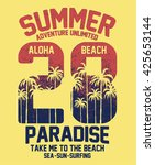 aloha typography with palms... | Shutterstock .eps vector #425653144