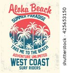 aloha typography with palms... | Shutterstock .eps vector #425653150
