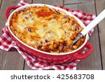 easy macaroni casserole with... | Shutterstock . vector #425683708