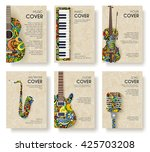music magazine layout flyer... | Shutterstock .eps vector #425703208