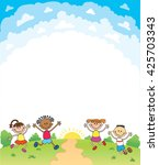 kids happy jumping certificate... | Shutterstock .eps vector #425703343