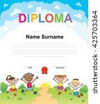 kids diploma certificate... | Shutterstock .eps vector #425703364