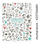 big doodle design elements  set ... | Shutterstock .eps vector #425704684