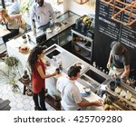 coffee shop bar counter cafe... | Shutterstock . vector #425709280