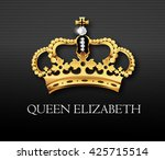 golden crown with queen... | Shutterstock .eps vector #425715514