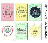 vector bright summer cards.... | Shutterstock .eps vector #425717080