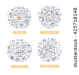 doodle illustrations of online... | Shutterstock .eps vector #425718148
