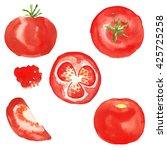 set tomato. watercolor food.... | Shutterstock . vector #425725258