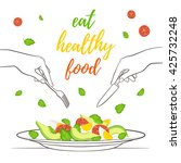 eat healthy food concept. fresh ... | Shutterstock .eps vector #425732248