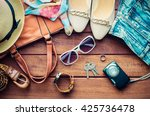 travel clothing accessories... | Shutterstock . vector #425736478