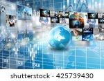 world map connected.social... | Shutterstock . vector #425739430