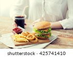 fast food  people and unhealthy ... | Shutterstock . vector #425741410