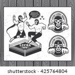 mexican wrestler set. lucha... | Shutterstock .eps vector #425764804