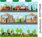 vector set of street food... | Shutterstock .eps vector #425775040