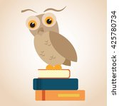 owl on a pile of books. text... | Shutterstock .eps vector #425780734