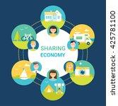 sharing economy vector... | Shutterstock .eps vector #425781100