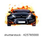 sports car and fire flames.... | Shutterstock . vector #425785000