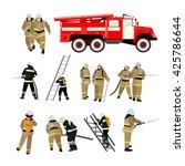 fire fighting department vector ... | Shutterstock .eps vector #425786644
