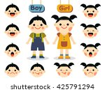 cute girl and boy with faces... | Shutterstock .eps vector #425791294