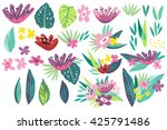 vector summer set of tropical... | Shutterstock .eps vector #425791486