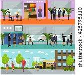 vector set of school concept... | Shutterstock .eps vector #425795110
