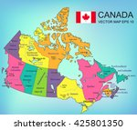canada map with provinces. all... | Shutterstock .eps vector #425801350