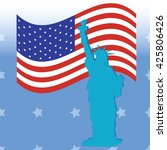 statue of liberty american flag ... | Shutterstock .eps vector #425806426