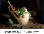 ice cream in waffle basket | Shutterstock . vector #425817994