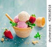 ice cream in waffle basket | Shutterstock . vector #425818018