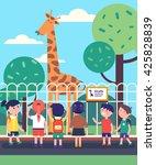 group of kids watching giraffe... | Shutterstock .eps vector #425828839