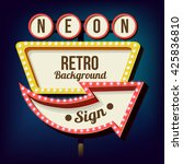 retro night sign with an arrow. ... | Shutterstock . vector #425836810
