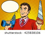man saw drill tool | Shutterstock . vector #425838106